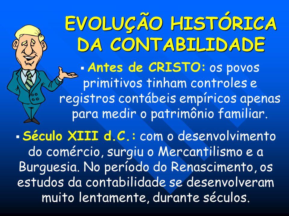 EVOLUÇÃO HISTÓRICA DA CONTABILIDADE  Antes de CRISTO: os povos primitivos tinham controles e registros contábeis empíricos apenas para medir o patrim