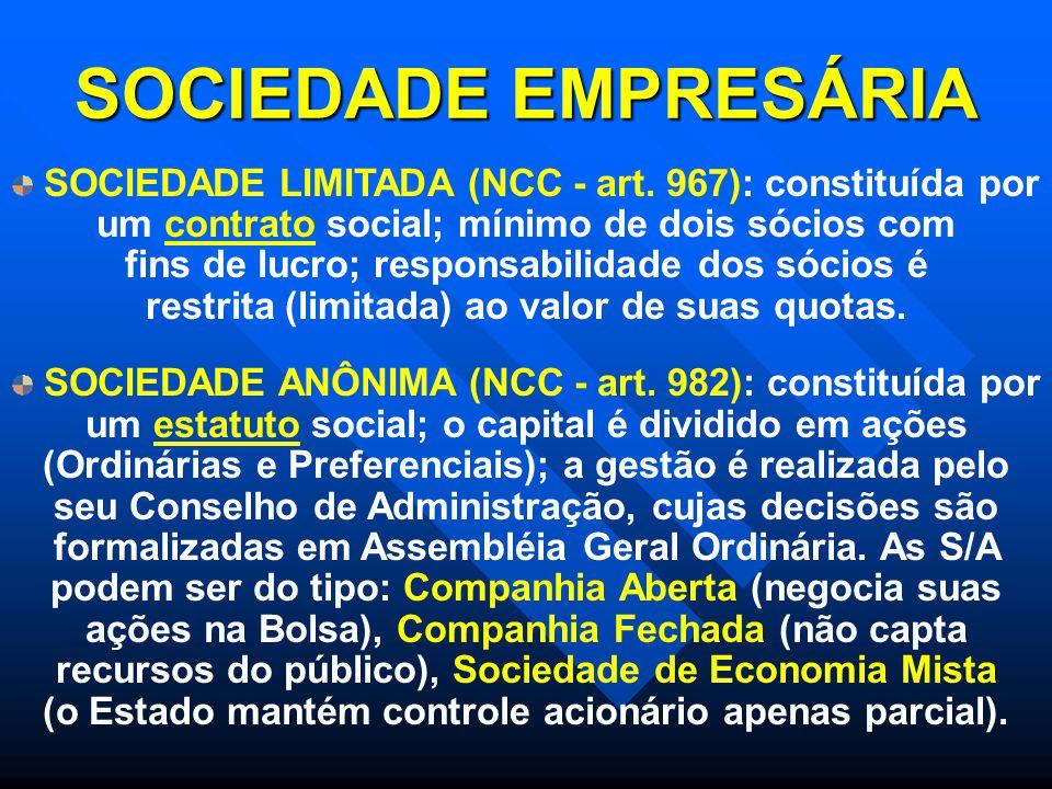 SOCIEDADE EMPRESÁRIA SOCIEDADE LIMITADA (NCC - art. 967): constituída por um contrato social; mínimo de dois sócios com fins de lucro; responsabilidad