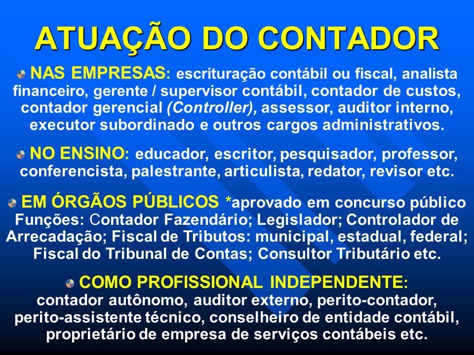ATUAÇÃO DO CONTADOR NAS EMPRESAS : escrituração contábil ou fiscal, analista financeiro, gerente / supervisor contábil, contador de custos, contador g