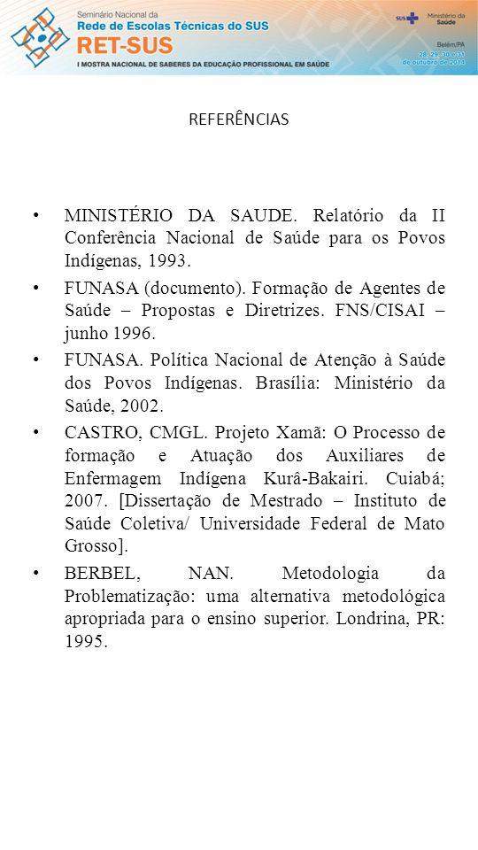 REFERÊNCIAS MINISTÉRIO DA SAUDE.