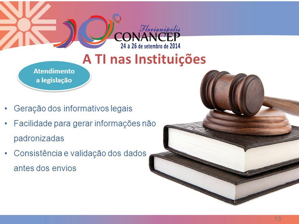 13 Geração dos informativos legais Facilidade para gerar informações não padronizadas Consistência e validação dos dados antes dos envios Atendimento