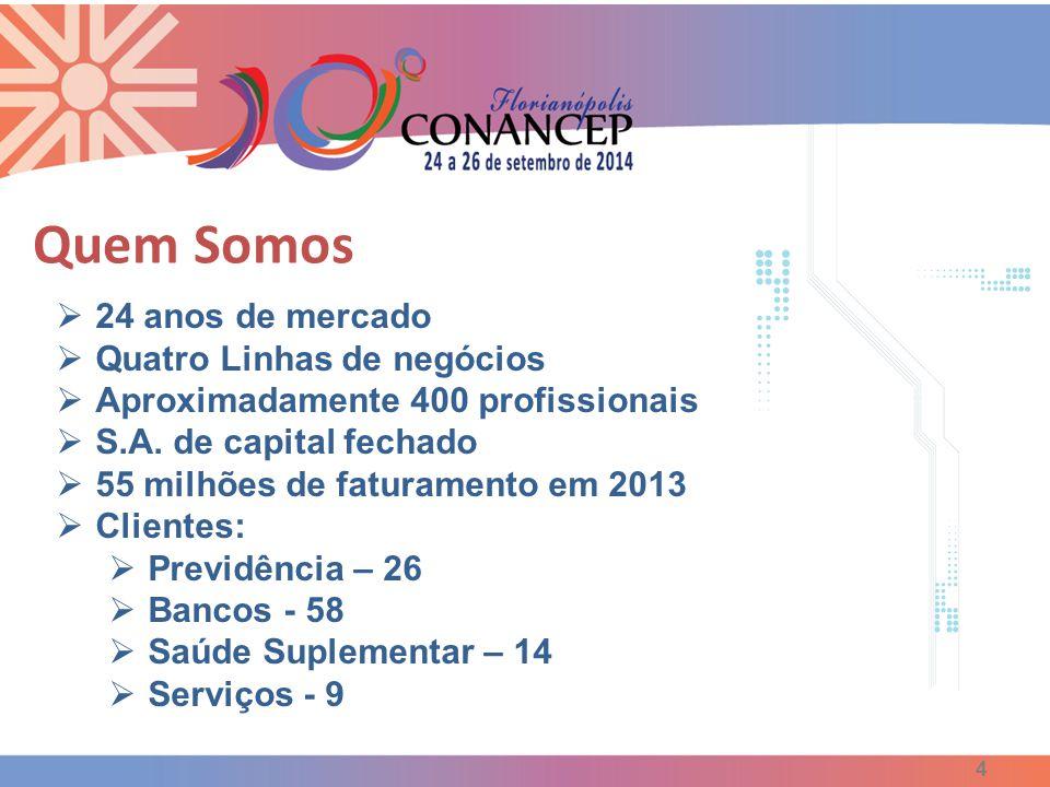  24 anos de mercado  Quatro Linhas de negócios  Aproximadamente 400 profissionais  S.A. de capital fechado  55 milhões de faturamento em 2013  C