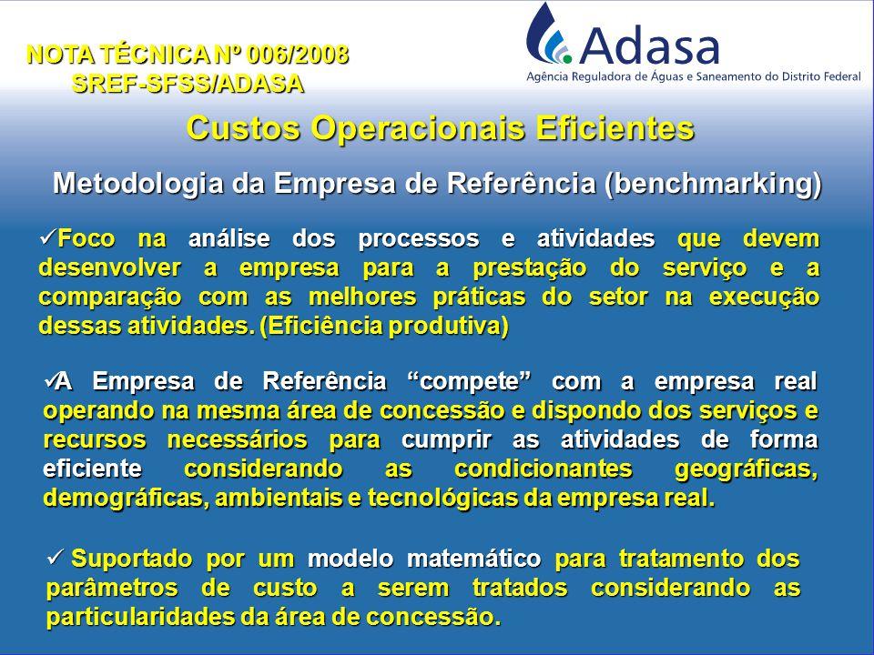 Custos Operacionais Eficientes NOTA TÉCNICA Nº 006/2008 SREF-SFSS/ADASA Foco na análise dos processos e atividades que devem desenvolver a empresa para a prestação do serviço e a comparação com as melhores práticas do setor na execução dessas atividades.