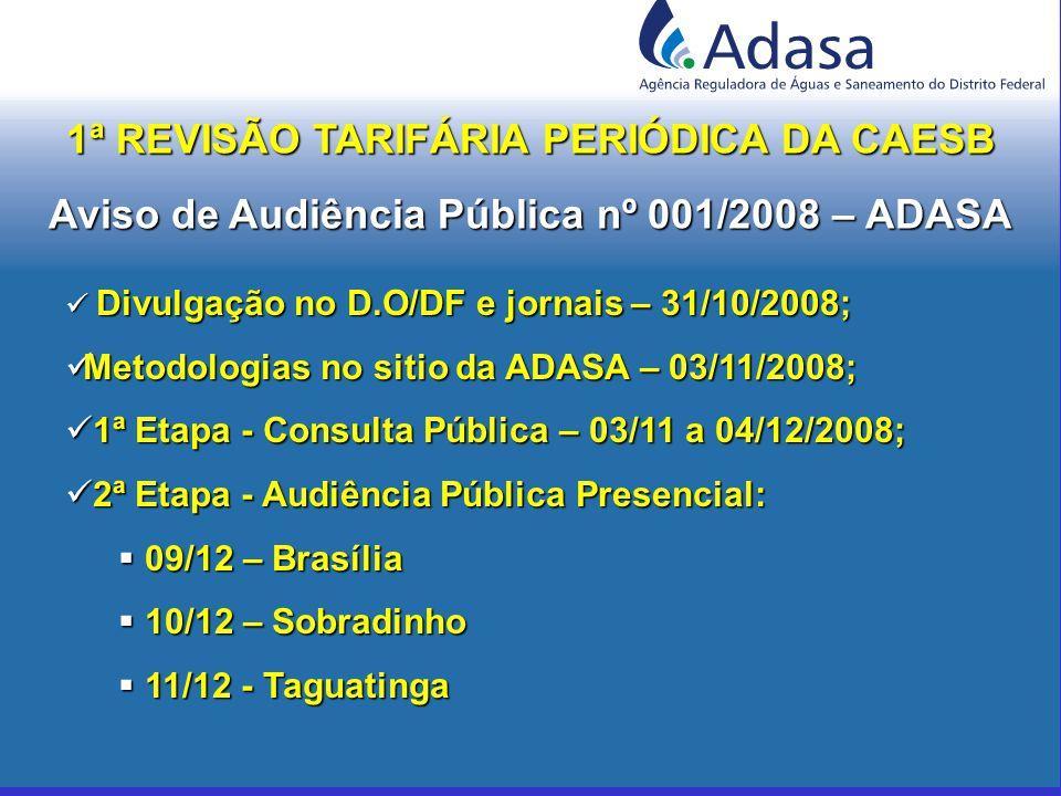Divulgação no D.O/DF e jornais – 31/10/2008; Divulgação no D.O/DF e jornais – 31/10/2008; Metodologias no sitio da ADASA – 03/11/2008; Metodologias no sitio da ADASA – 03/11/2008; 1ª Etapa - Consulta Pública – 03/11 a 04/12/2008; 1ª Etapa - Consulta Pública – 03/11 a 04/12/2008; 2ª Etapa - Audiência Pública Presencial: 2ª Etapa - Audiência Pública Presencial:  09/12 – Brasília  10/12 – Sobradinho  11/12 - Taguatinga 1ª REVISÃO TARIFÁRIA PERIÓDICA DA CAESB Aviso de Audiência Pública nº 001/2008 – ADASA