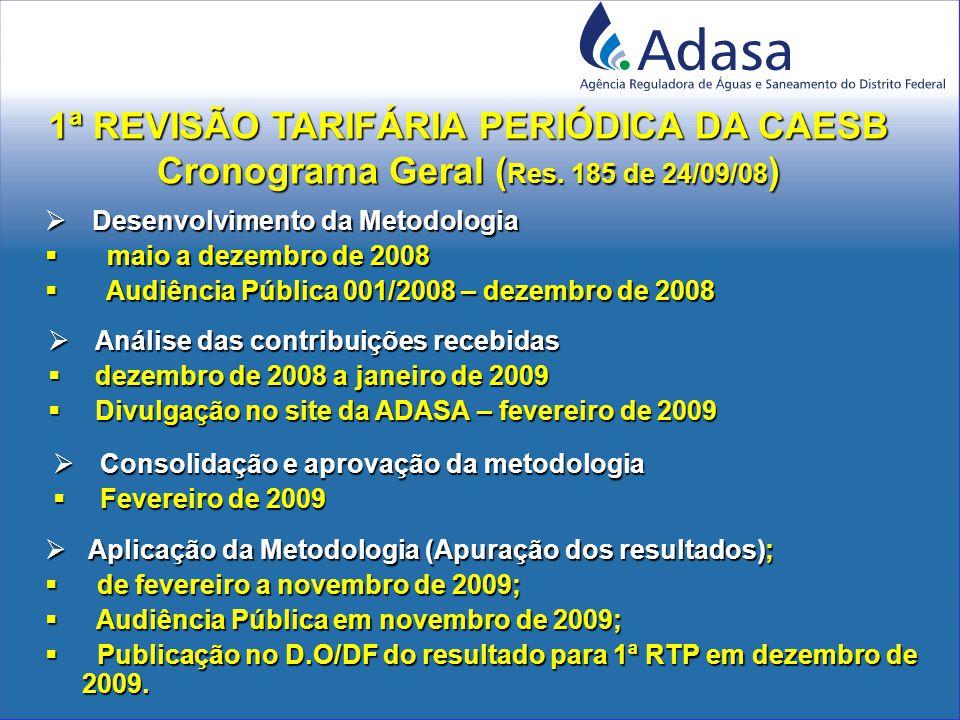  Desenvolvimento da Metodologia  maio a dezembro de 2008  Audiência Pública 001/2008 – dezembro de 2008  Aplicação da Metodologia (Apuração dos resultados);  de fevereiro a novembro de 2009;  Audiência Pública em novembro de 2009;  Publicação no D.O/DF do resultado para 1ª RTP em dezembro de 2009.