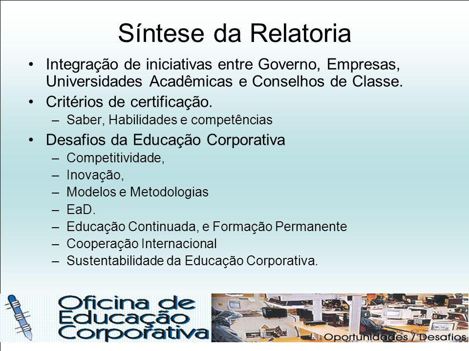Síntese da Relatoria Integração de iniciativas entre Governo, Empresas, Universidades Acadêmicas e Conselhos de Classe. Critérios de certificação. –Sa