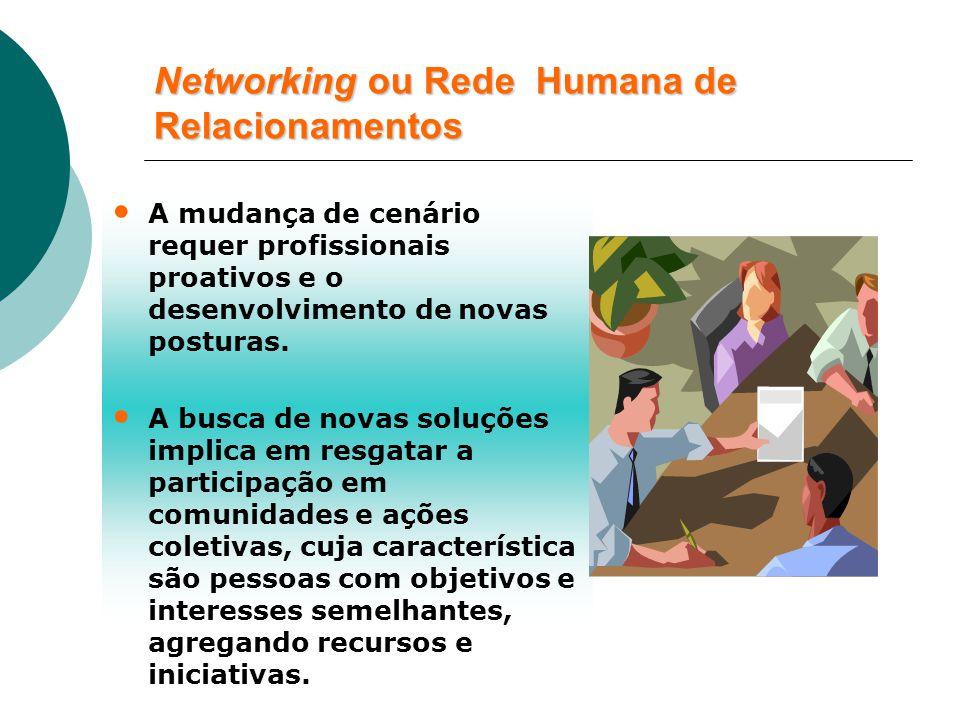 Networking ou Rede Humana de Relacionamentos A mudança de cenário requer profissionais proativos e o desenvolvimento de novas posturas.