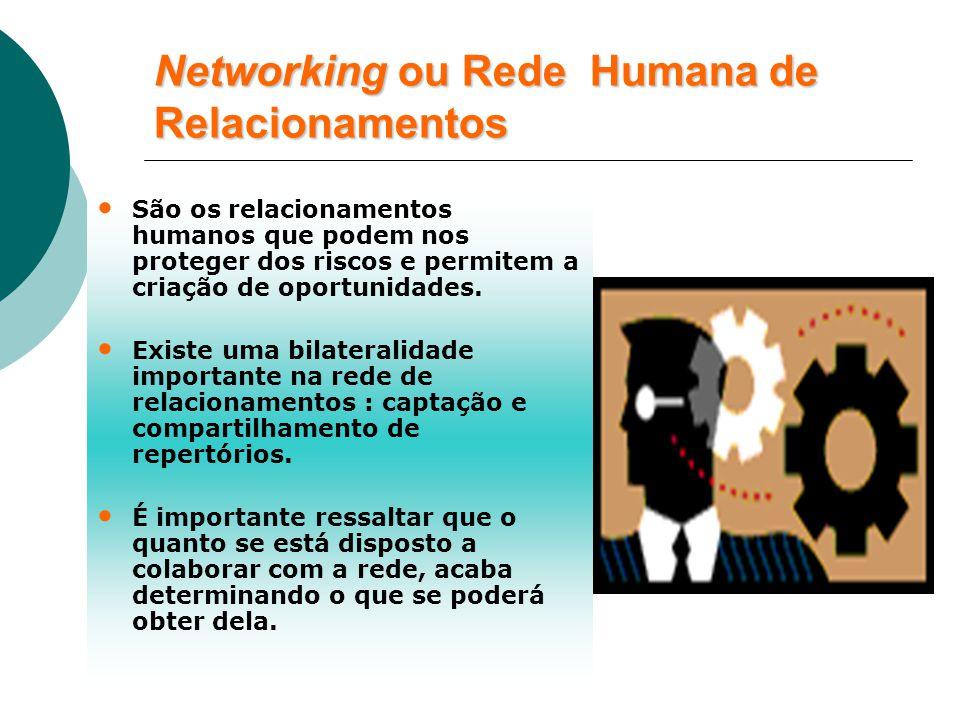Networking ou Rede Humana de Relacionamentos São os relacionamentos humanos que podem nos proteger dos riscos e permitem a criação de oportunidades.