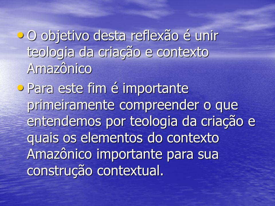 O objetivo desta reflexão é unir teologia da criação e contexto Amazônico O objetivo desta reflexão é unir teologia da criação e contexto Amazônico Pa