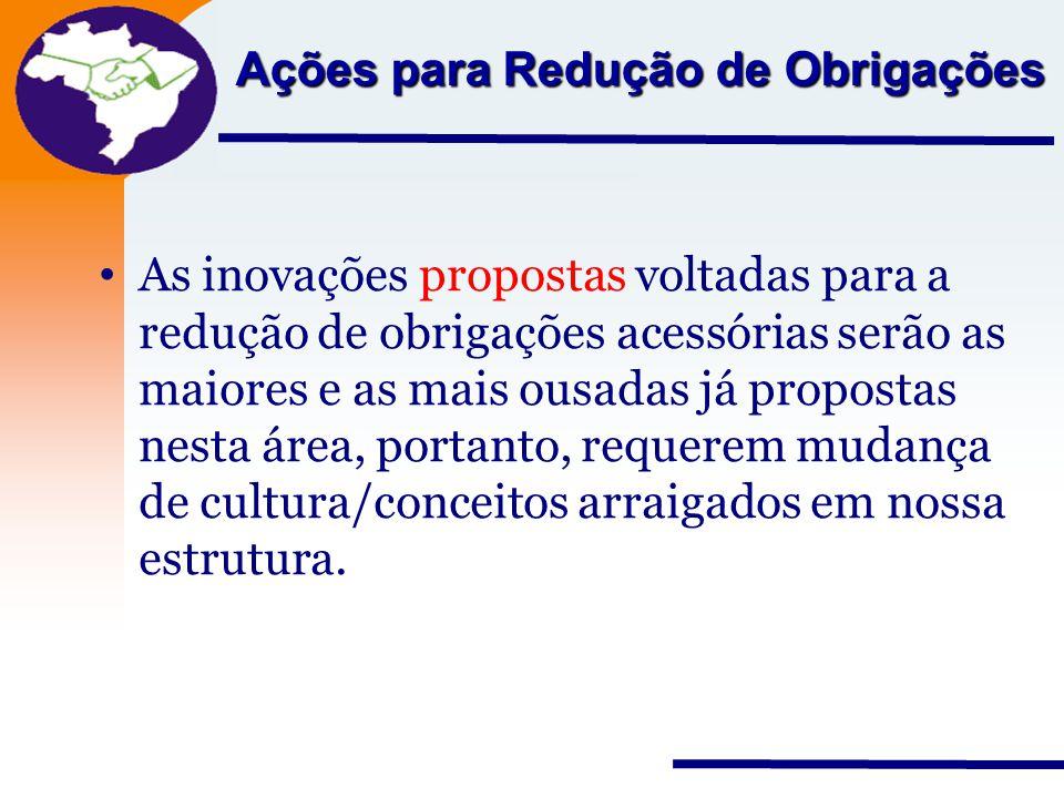 Nota Fiscal Eletrônica Projeto Ações para Redução de Obrigações As inovações propostas voltadas para a redução de obrigações acessórias serão as maior