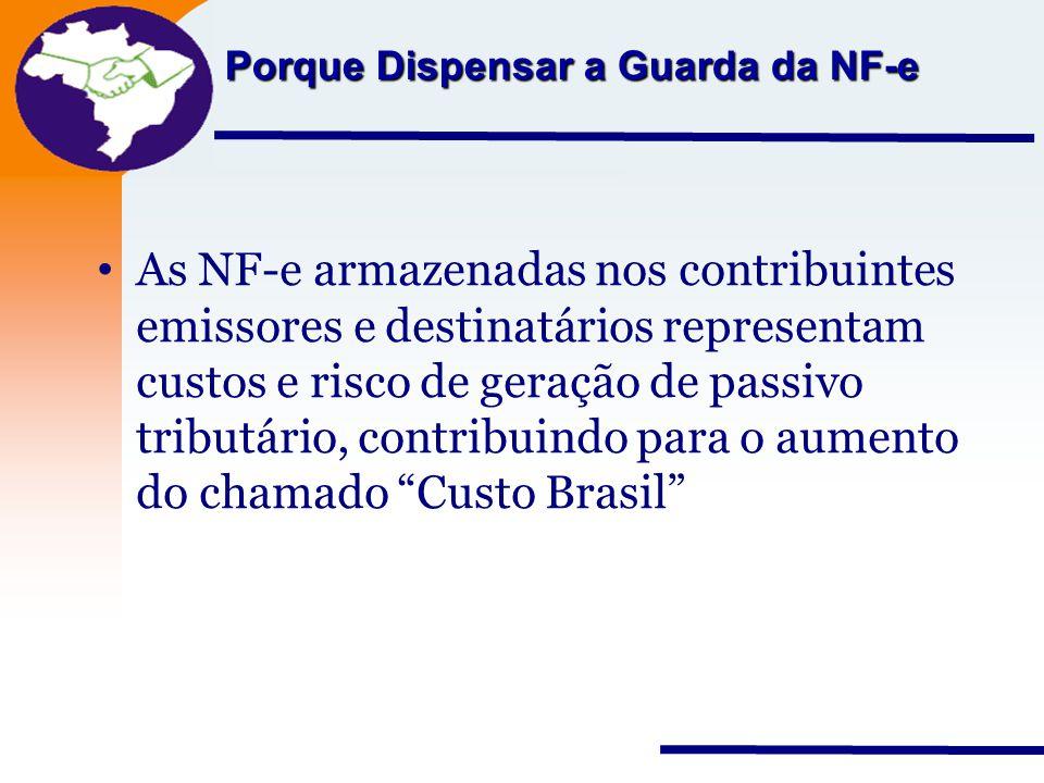 Nota Fiscal Eletrônica Projeto Porque Dispensar a Guarda da NF-e As NF-e armazenadas nos contribuintes emissores e destinatários representam custos e