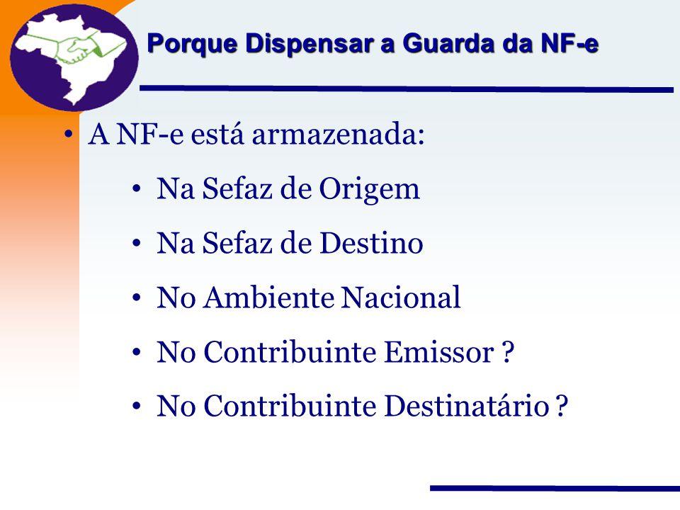 Nota Fiscal Eletrônica Projeto Porque Dispensar a Guarda da NF-e A NF-e está armazenada: Na Sefaz de Origem Na Sefaz de Destino No Ambiente Nacional N