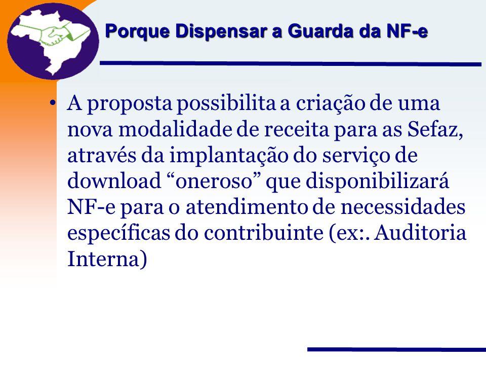 Nota Fiscal Eletrônica Projeto Porque Dispensar a Guarda da NF-e A proposta possibilita a criação de uma nova modalidade de receita para as Sefaz, atr