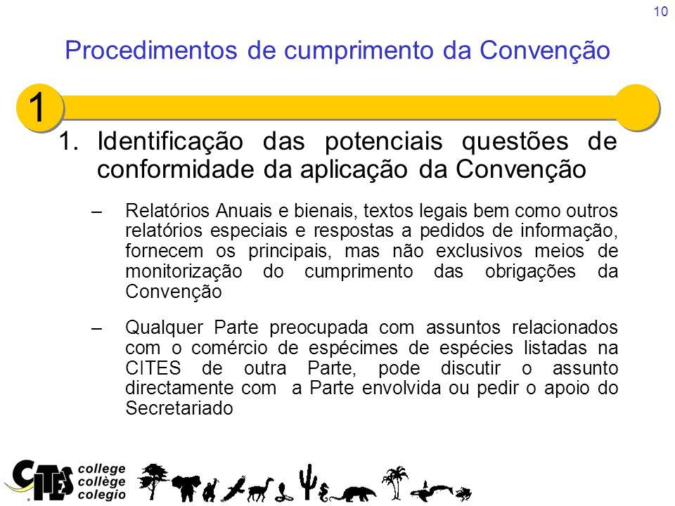 10 1.Identificação das potenciais questões de conformidade da aplicação da Convenção –Relatórios Anuais e bienais, textos legais bem como outros relat