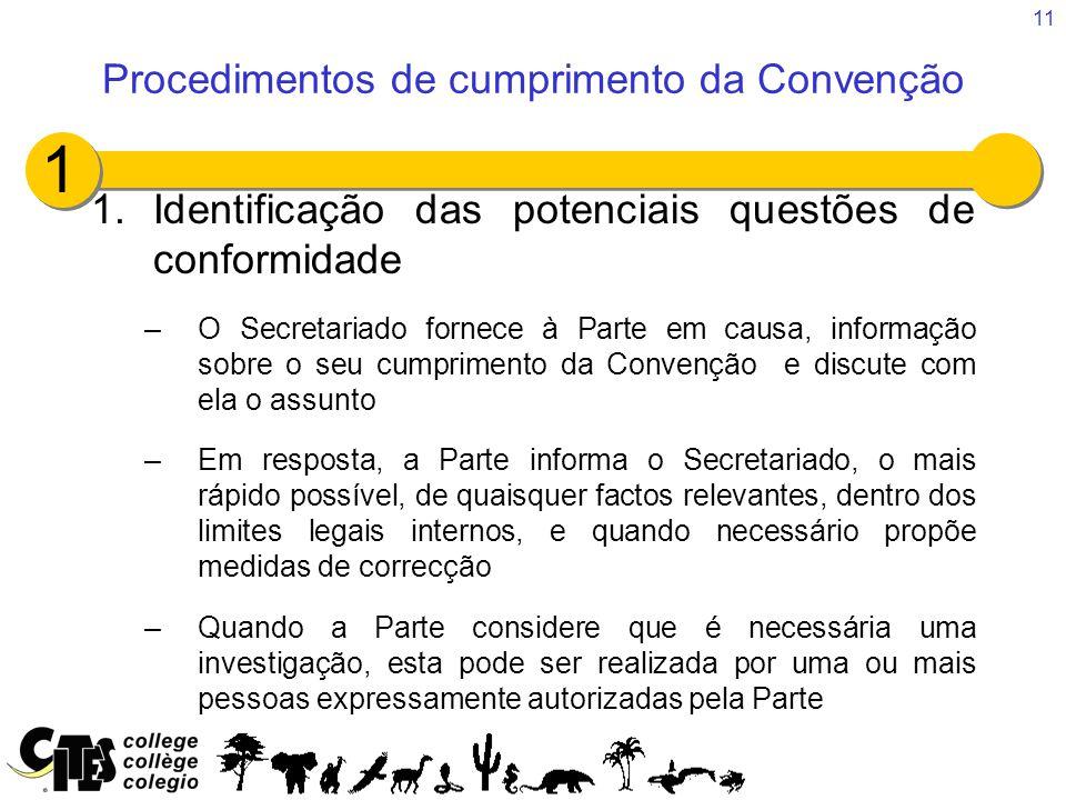 11 1.Identificação das potenciais questões de conformidade –O Secretariado fornece à Parte em causa, informação sobre o seu cumprimento da Convenção e