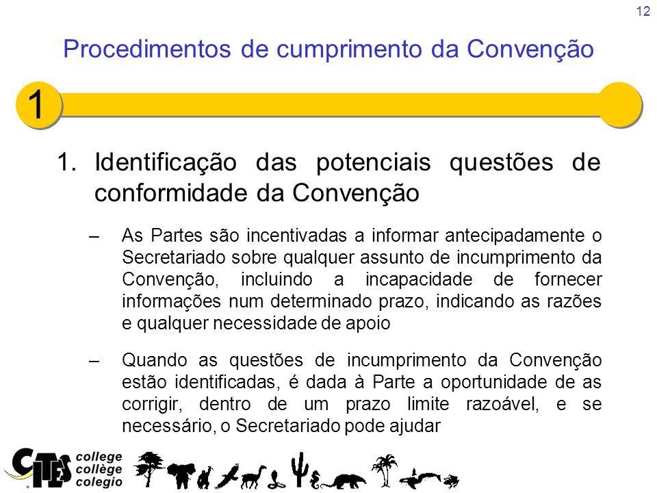 12 1.Identificação das potenciais questões de conformidade da Convenção –As Partes são incentivadas a informar antecipadamente o Secretariado sobre qu
