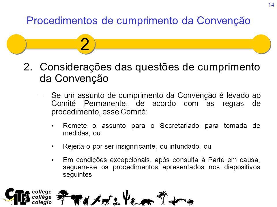 14 2.Considerações das questões de cumprimento da Convenção –Se um assunto de cumprimento da Convenção é levado ao Comité Permanente, de acordo com as regras de procedimento, esse Comité: Remete o assunto para o Secretariado para tomada de medidas, ou Rejeita-o por ser insignificante, ou infundado, ou Em condições excepcionais, após consulta à Parte em causa, seguem-se os procedimentos apresentados nos diapositivos seguintes Procedimentos de cumprimento da Convenção 2
