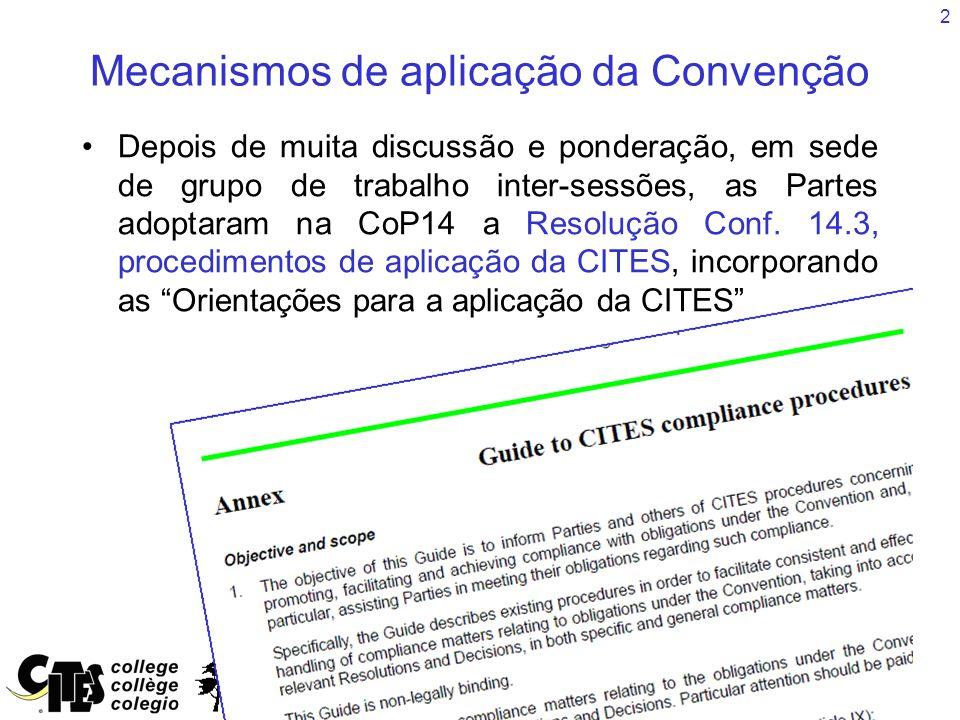 2 Mecanismos de aplicação da Convenção Depois de muita discussão e ponderação, em sede de grupo de trabalho inter-sessões, as Partes adoptaram na CoP14 a Resolução Conf.