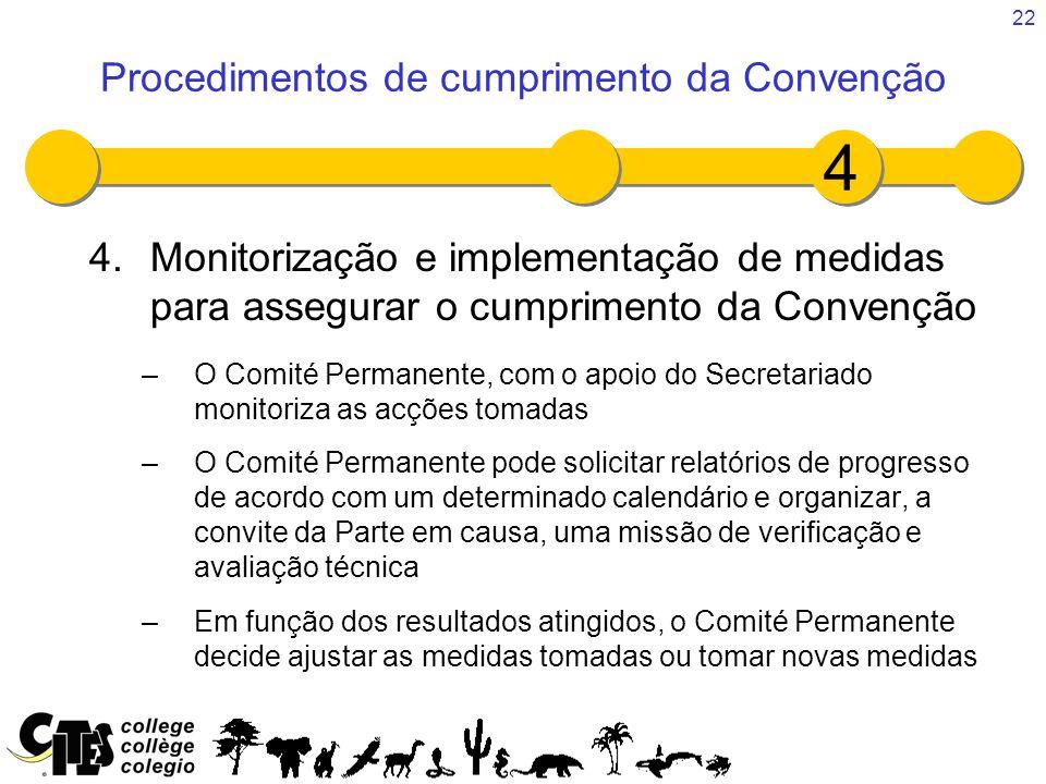 22 4.Monitorização e implementação de medidas para assegurar o cumprimento da Convenção –O Comité Permanente, com o apoio do Secretariado monitoriza a