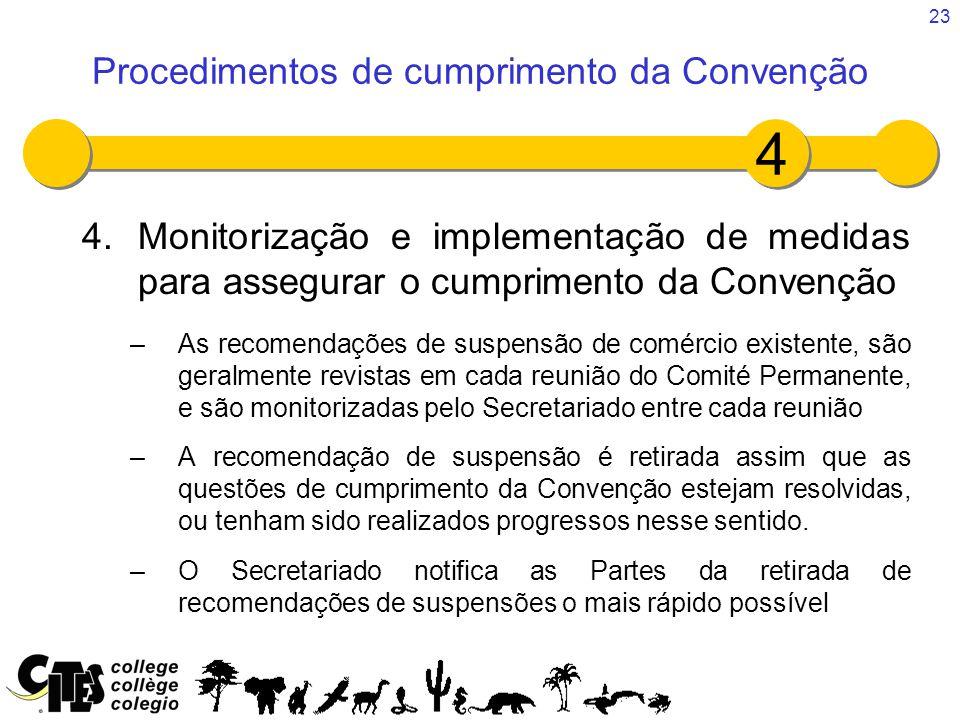 23 4.Monitorização e implementação de medidas para assegurar o cumprimento da Convenção –As recomendações de suspensão de comércio existente, são gera