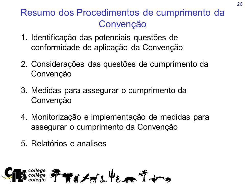 26 Resumo dos Procedimentos de cumprimento da Convenção 1.Identificação das potenciais questões de conformidade de aplicação da Convenção 2.Considerações das questões de cumprimento da Convenção 3.Medidas para assegurar o cumprimento da Convenção 4.Monitorização e implementação de medidas para assegurar o cumprimento da Convenção 5.Relatórios e analises