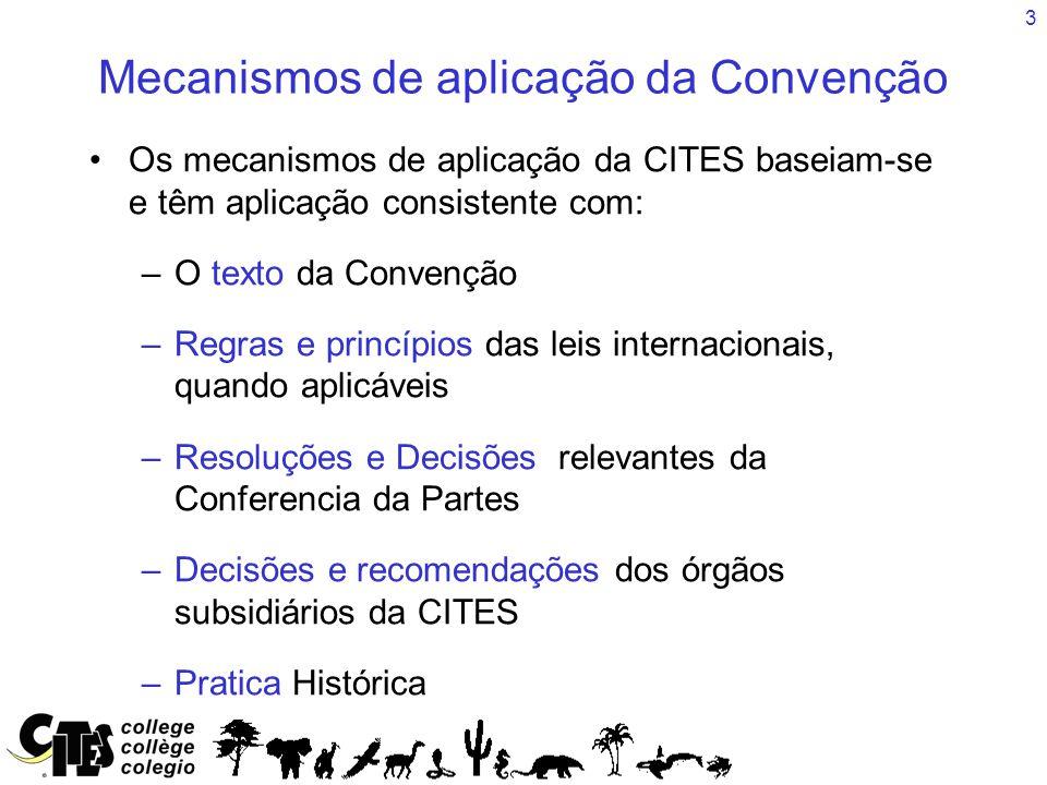 3 Mecanismos de aplicação da Convenção Os mecanismos de aplicação da CITES baseiam-se e têm aplicação consistente com: –O texto da Convenção –Regras e princípios das leis internacionais, quando aplicáveis –Resoluções e Decisões relevantes da Conferencia da Partes –Decisões e recomendações dos órgãos subsidiários da CITES –Pratica Histórica