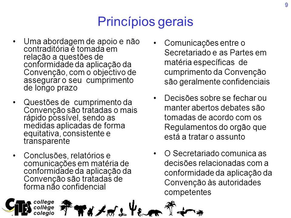9 Princípios gerais Uma abordagem de apoio e não contraditória é tomada em relação a questões de conformidade da aplicação da Convenção, com o objectivo de assegurar o seu cumprimento de longo prazo Questões de cumprimento da Convenção são tratadas o mais rápido possível, sendo as medidas aplicadas de forma equitativa, consistente e transparente Conclusões, relatórios e comunicações em matéria de conformidade da aplicação da Convenção são tratadas de forma não confidencial Comunicações entre o Secretariado e as Partes em matéria específicas de cumprimento da Convenção são geralmente confidenciais Decisões sobre se fechar ou manter abertos debates são tomadas de acordo com os Regulamentos do orgão que está a tratar o assunto O Secretariado comunica as decisões relacionadas com a conformidade da aplicação da Convenção às autoridades competentes