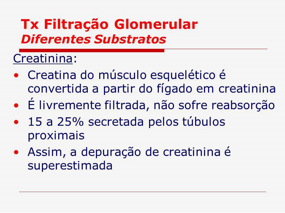 Tx Filtração Glomerular Diferentes Substratos Creatinina: Creatina do músculo esquelético é convertida a partir do fígado em creatinina É livremente f