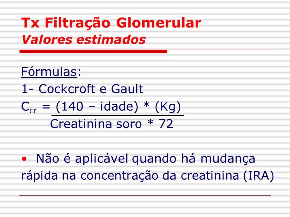 Tx Filtração Glomerular Valores estimados Fórmulas: 1- Cockcroft e Gault C cr = (140 – idade) * (Kg) Creatinina soro * 72 Não é aplicável quando há mu