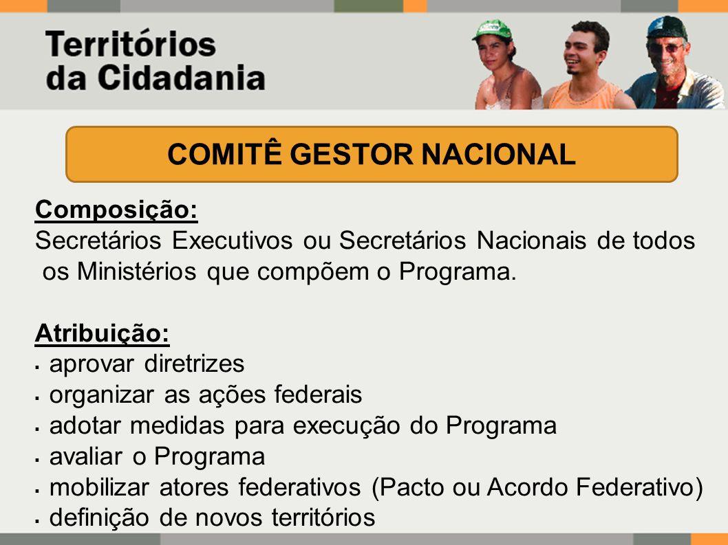Composição: Secretários Executivos ou Secretários Nacionais de todos os Ministérios que compõem o Programa.