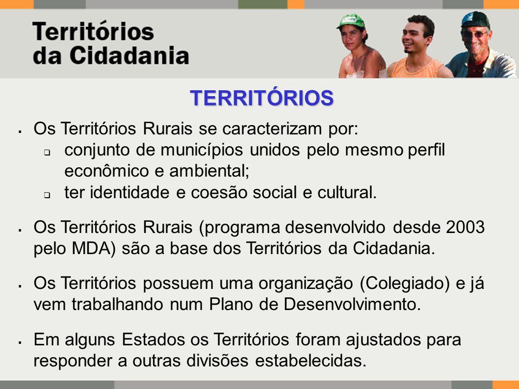  Os Territórios Rurais se caracterizam por:  conjunto de municípios unidos pelo mesmo perfil econômico e ambiental;  ter identidade e coesão social e cultural.