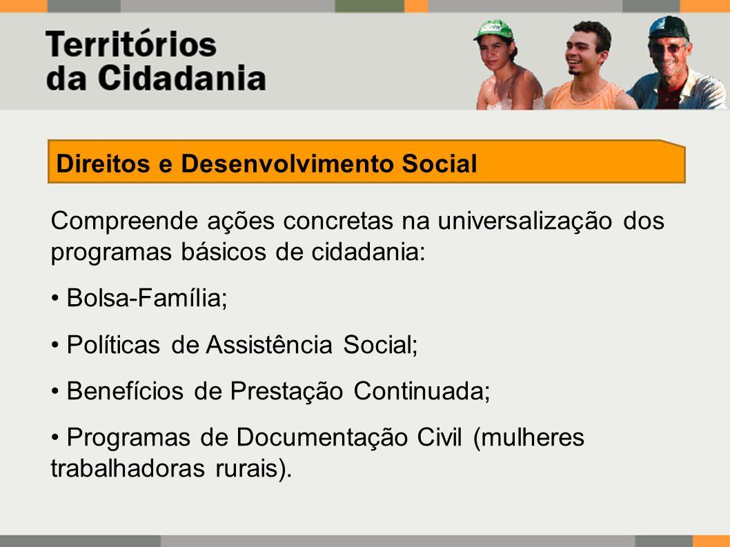 Compreende ações concretas na universalização dos programas básicos de cidadania: Bolsa-Família; Políticas de Assistência Social; Benefícios de Prestação Continuada; Programas de Documentação Civil (mulheres trabalhadoras rurais).