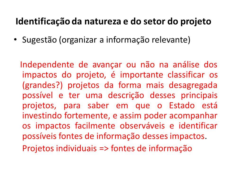 Identificação da natureza e do setor do projeto Sugestão (organizar a informação relevante) Independente de avançar ou não na análise dos impactos do