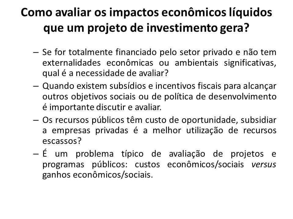 Como avaliar os impactos econômicos líquidos que um projeto de investimento gera? – Se for totalmente financiado pelo setor privado e não tem external