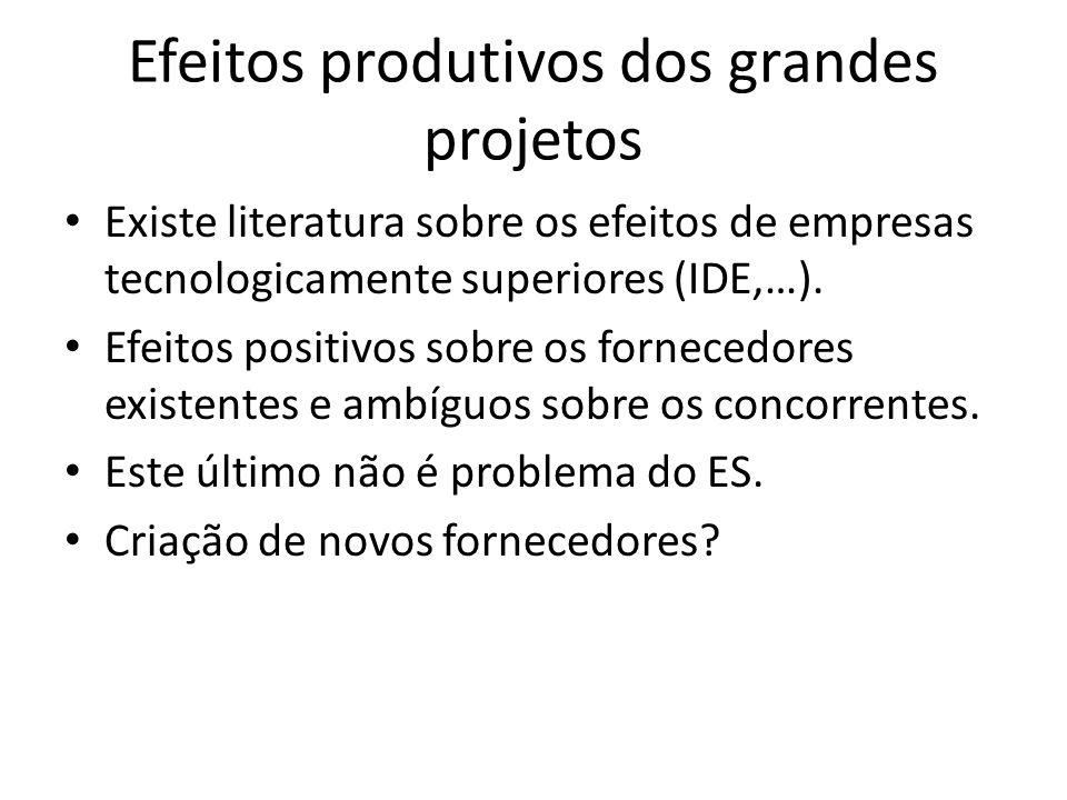 Efeitos produtivos dos grandes projetos Existe literatura sobre os efeitos de empresas tecnologicamente superiores (IDE,…). Efeitos positivos sobre os