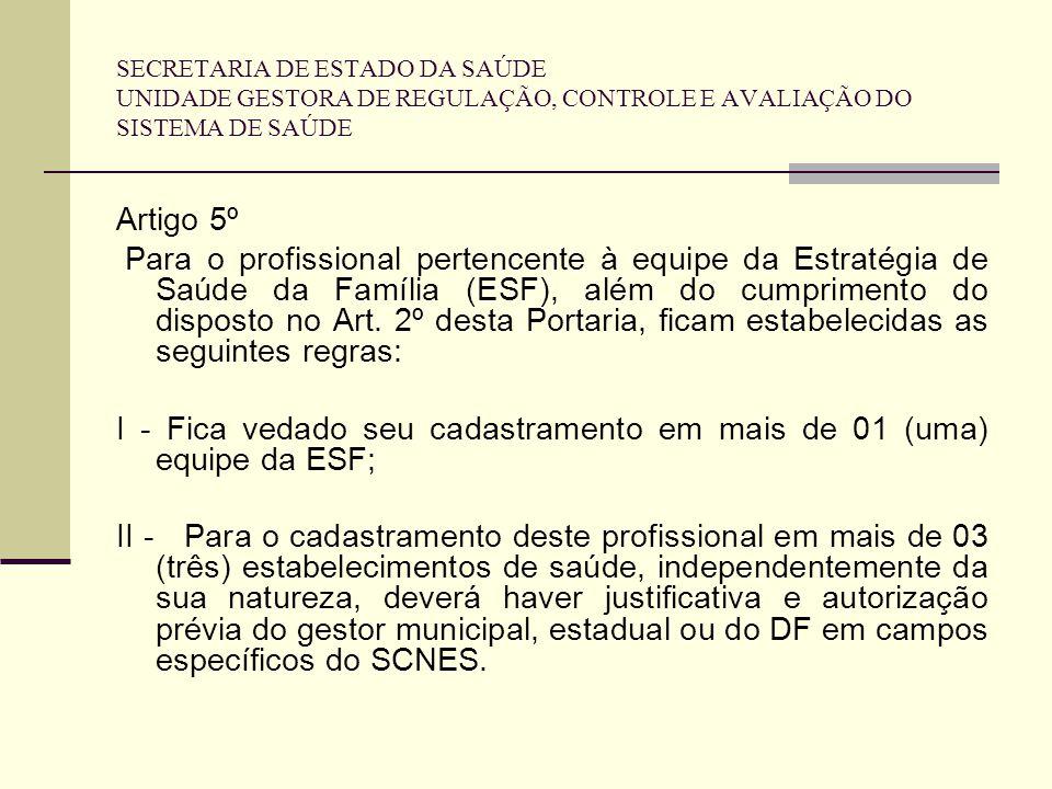 SECRETARIA DE ESTADO DA SAÚDE UNIDADE GESTORA DE REGULAÇÃO, CONTROLE E AVALIAÇÃO DO SISTEMA DE SAÚDE Artigo 5º Para o profissional pertencente à equip