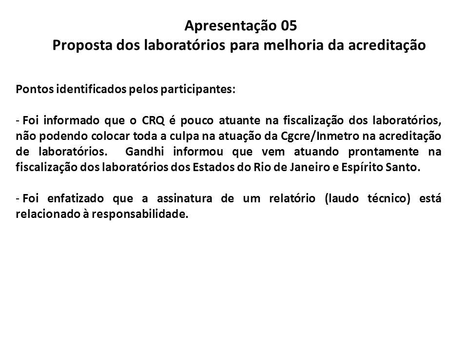 Apresentação 05 Proposta dos laboratórios para melhoria da acreditação Pontos identificados pelos participantes: - Foi informado que o CRQ é pouco atu