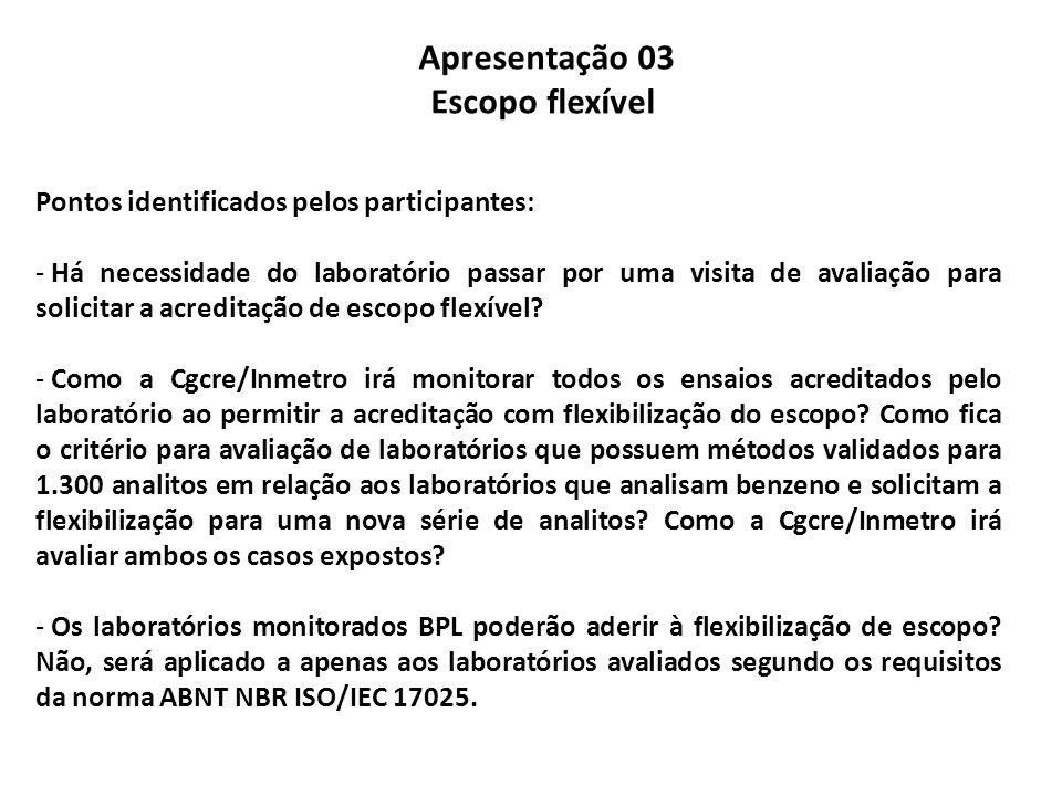 Apresentação 03 Escopo flexível Pontos identificados pelos participantes: - Há necessidade do laboratório passar por uma visita de avaliação para solicitar a acreditação de escopo flexível.