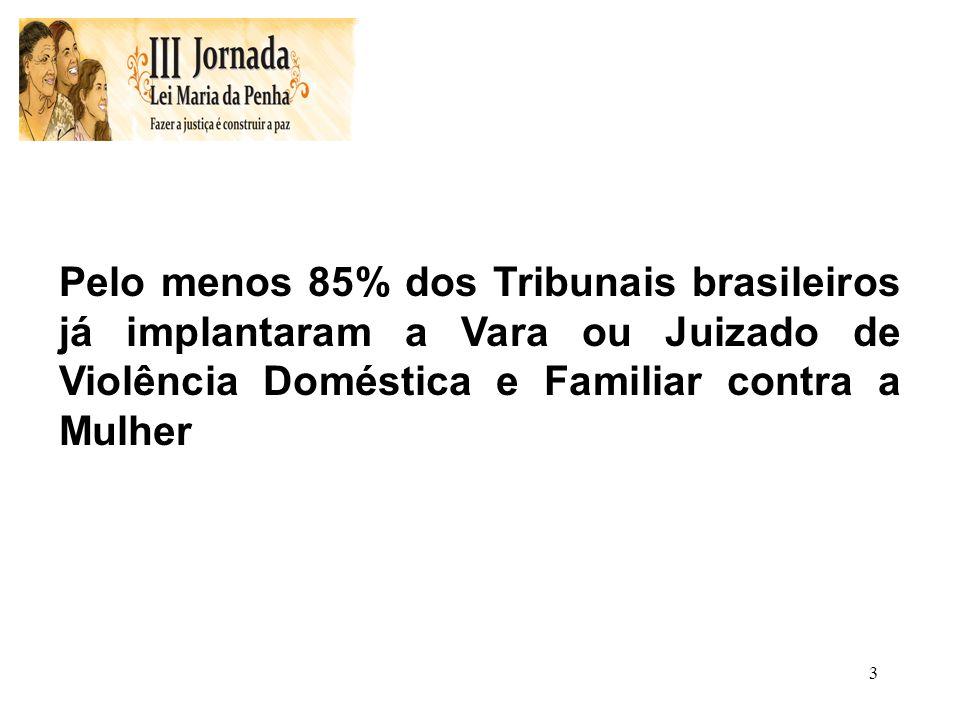 3 Pelo menos 85% dos Tribunais brasileiros já implantaram a Vara ou Juizado de Violência Doméstica e Familiar contra a Mulher