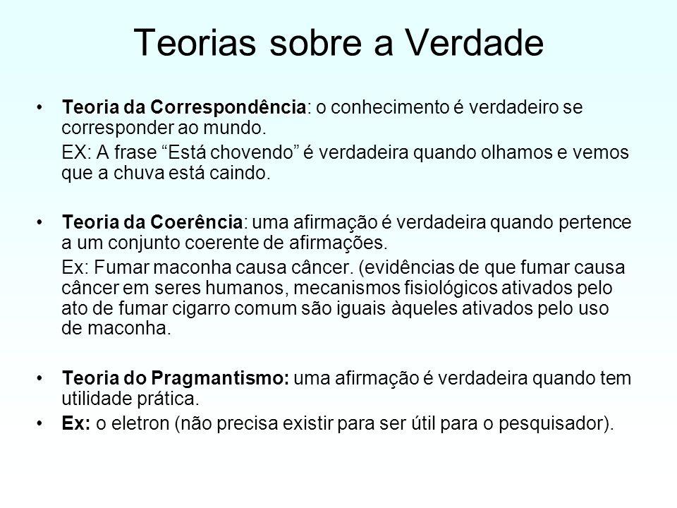 Teorias sobre a Verdade Teoria da CorrespondênciaTeoria da Correspondência: o conhecimento é verdadeiro se corresponder ao mundo.