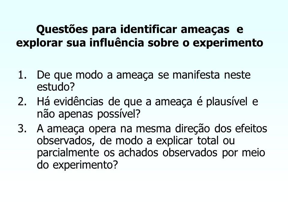 Questões para identificar ameaças e explorar sua influência sobre o experimento 1.De que modo a ameaça se manifesta neste estudo.