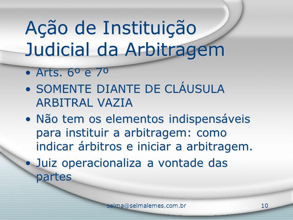 selma@selmalemes.com.br10 Ação de Instituição Judicial da Arbitragem Arts. 6º e 7º SOMENTE DIANTE DE CLÁUSULA ARBITRAL VAZIA Não tem os elementos indi