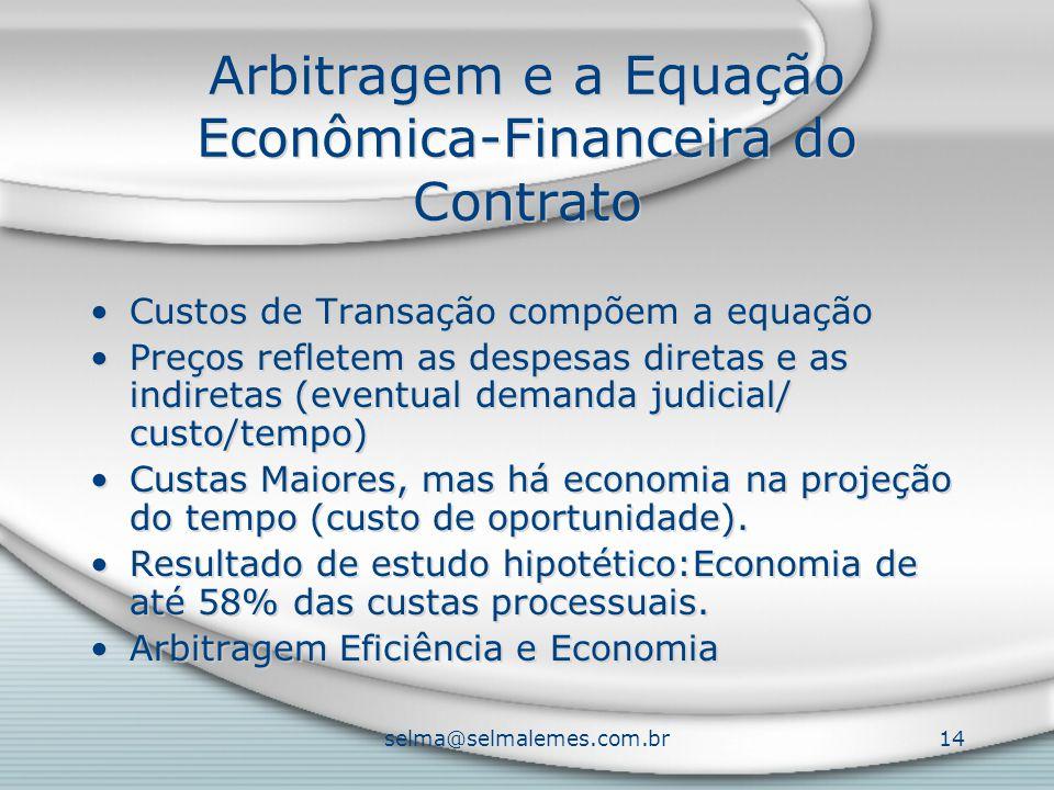 selma@selmalemes.com.br14 Arbitragem e a Equação Econômica-Financeira do Contrato Custos de Transação compõem a equação Preços refletem as despesas di