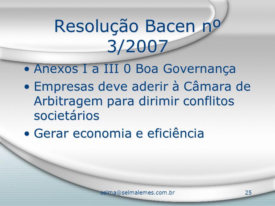 selma@selmalemes.com.br25 Resolução Bacen nº 3/2007 Anexos I a III 0 Boa Governança Empresas deve aderir à Câmara de Arbitragem para dirimir conflitos