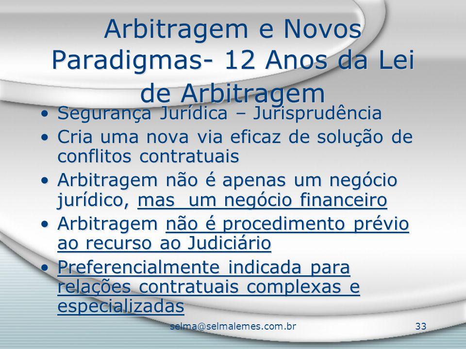 selma@selmalemes.com.br33 Arbitragem e Novos Paradigmas- 12 Anos da Lei de Arbitragem Segurança Jurídica – Jurisprudência Cria uma nova via eficaz de