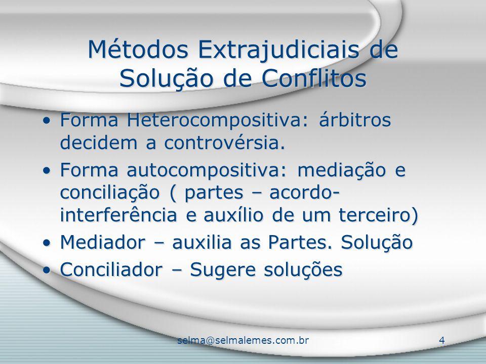 selma@selmalemes.com.br4 Métodos Extrajudiciais de Solução de Conflitos Forma Heterocompositiva: árbitros decidem a controvérsia. Forma autocompositiv