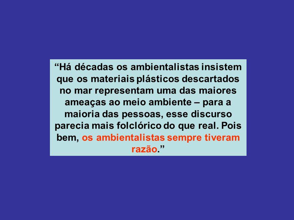 Há décadas os ambientalistas insistem que os materiais plásticos descartados no mar representam uma das maiores ameaças ao meio ambiente – para a maioria das pessoas, esse discurso parecia mais folclórico do que real.