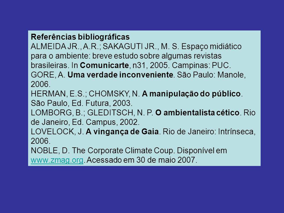 Referências bibliográficas ALMEIDA JR., A.R.; SAKAGUTI JR., M.
