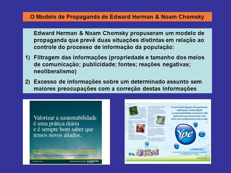 O Modelo de Propaganda de Edward Herman & Noam Chomsky Edward Herman & Noam Chomsky propuseram um modelo de propaganda que prevê duas situações distintas em relação ao controle do processo de informação da população: 1)Filtragem das informações (propriedade e tamanho dos meios de comunicação; publicidade; fontes; reações negativas; neoliberalismo) 2)Excesso de informações sobre um determinado assunto sem maiores preocupações com a correção destas informações