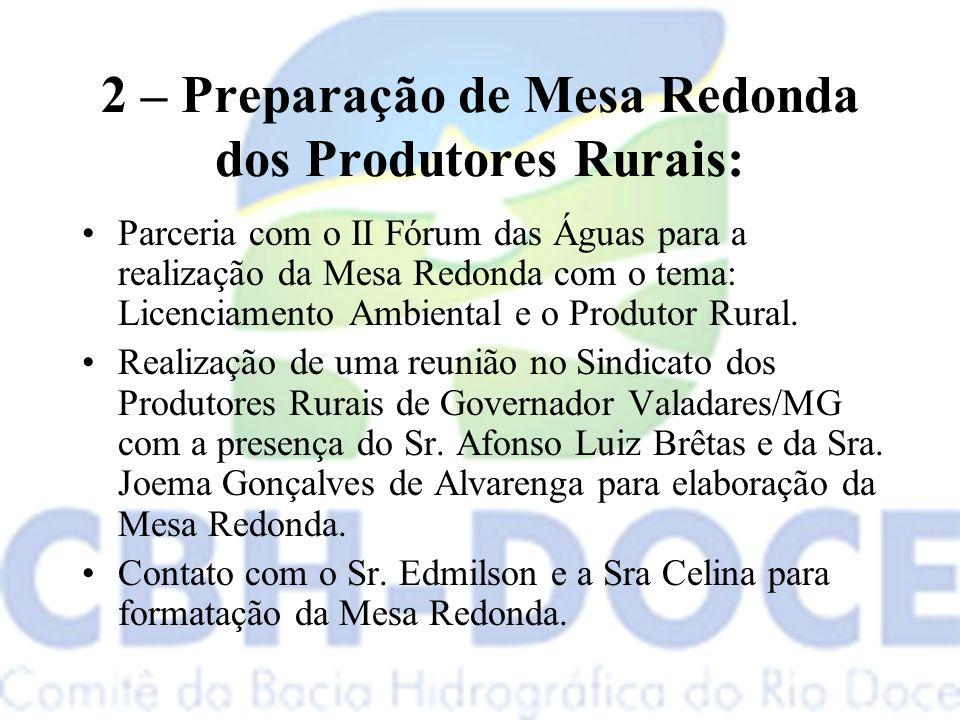2 – Preparação de Mesa Redonda dos Produtores Rurais: Parceria com o II Fórum das Águas para a realização da Mesa Redonda com o tema: Licenciamento Ambiental e o Produtor Rural.